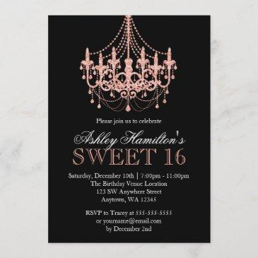rose gold faux glitter chandelier sweet 16 invitation