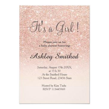 Small Rose Gold Faux Glitter Pink Ombre Girl Baby Shower Invitations Front View