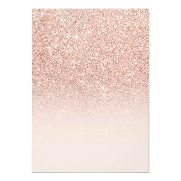 Small Rose Gold Faux Glitter Pink Ombre Girl Baby Shower Invitations Back View