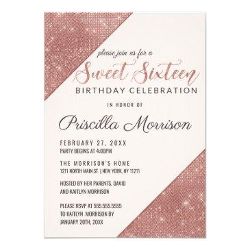 rose gold faux sparkling glitter sequin sweet 16 invitation