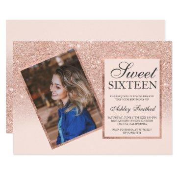 rose gold frame blush ombre photo sweet 16 invitation