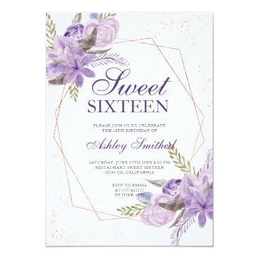 Small Rose Gold Frame Purple Floral Watercolor Sweet 16 Invitation Front View
