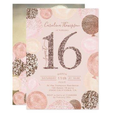 rose gold glitter blush balloon sweet 16 photo invitation