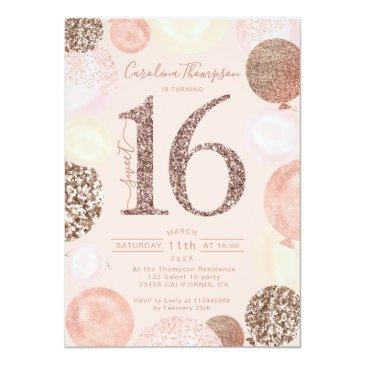 Small Rose Gold Glitter Blush Balloon Sweet 16 Photo Invitation Front View