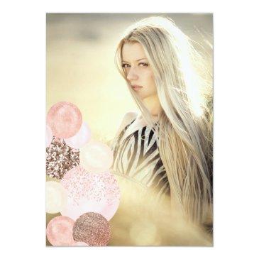 Small Rose Gold Glitter Blush Balloon Sweet 16 Photo Invitation Back View