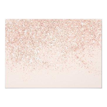 Small Rose Gold Glitter Chic Blush Pink Photo Sweet 16 Invitation Back View