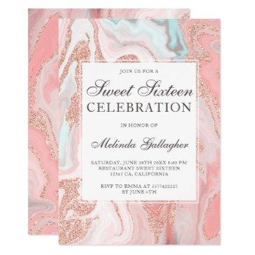 rose gold glitter coral pink marble sweet sixteen invitation