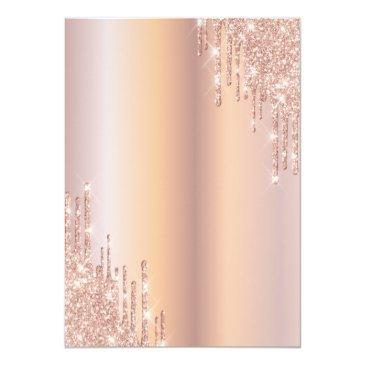 Small Rose Gold Glitter Drips Dress Quinceañera Invitation Back View