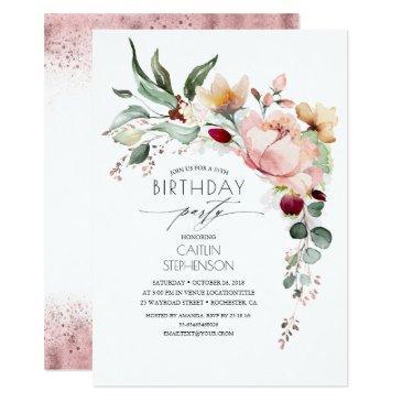 rose gold glitter elegant floral birthday invitation