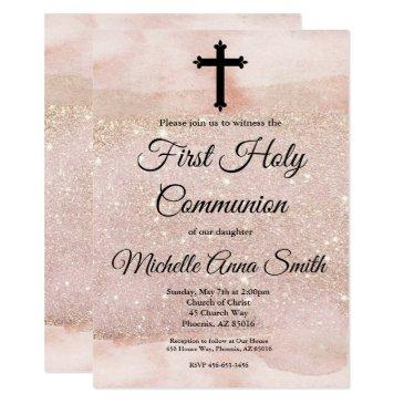 rose gold glitter girl 1st first holy communion invitation