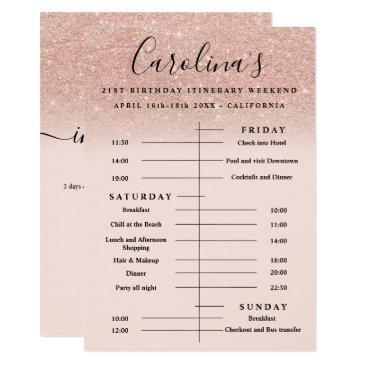 rose gold glitter itinerary 21st birthday weekend invitation