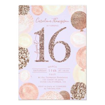 Small Rose Gold Glitter Lavender Balloon Sweet 16 Photo Invitation Front View