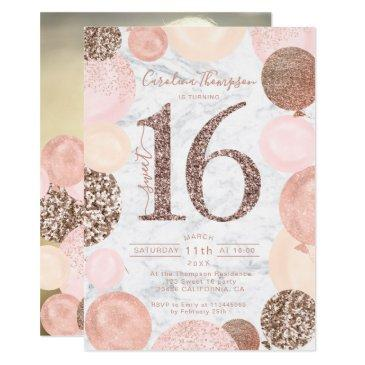 rose gold glitter marble balloon sweet 16 photo invitation