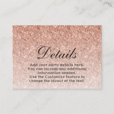 rose gold glitter modern bat mitzvah enclosure invitations