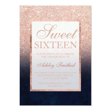 Small Rose Gold Glitter Navy Blue Watercolor Sweet 16 Invitations Front View