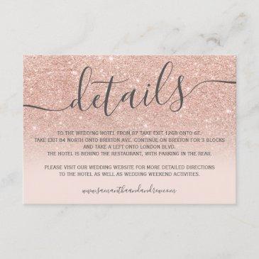 rose gold glitter ombre blush script details enclosure invitations