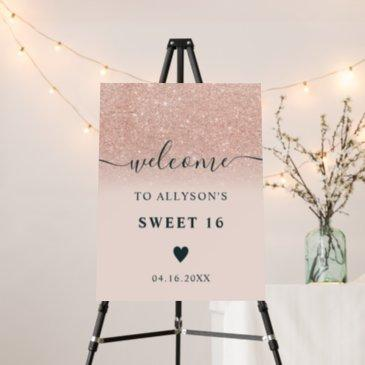 rose gold glitter ombre chic pink sweet 16 welcome foam board
