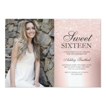 Small Rose Gold Glitter Ombre Metallic Photo Sweet 16 Invitation Front View