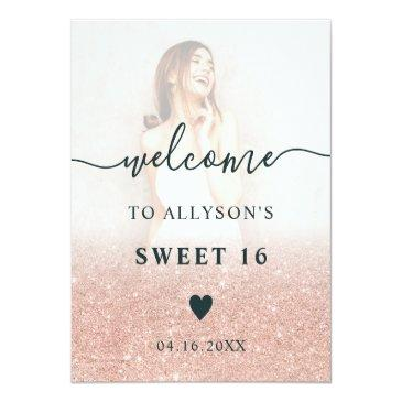 Small Rose Gold Glitter Ombre Photo Sweet 16 Welcome Foam Board Front View