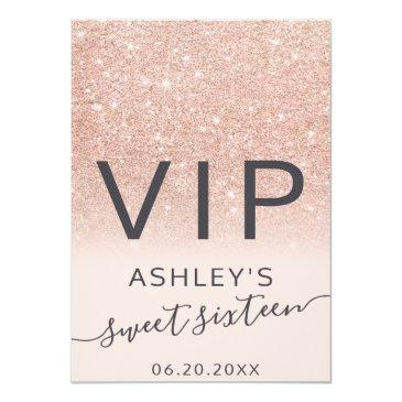 Small Rose Gold Glitter Ombre Script Blush Sweet 16 Vip Badge Front View