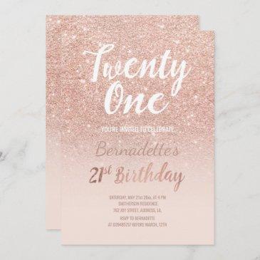 rose gold glitter ombre script chic 21st birthday invitation