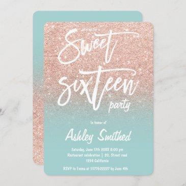 rose gold glitter ombre teal typography sweet 16 invitation