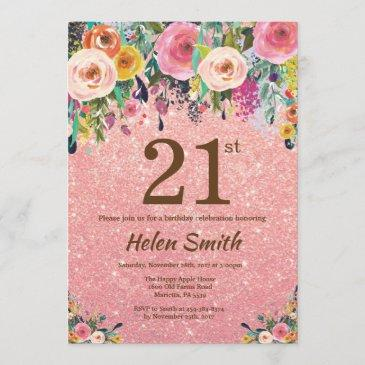 rose gold glitter pink floral 21st birthday invitation