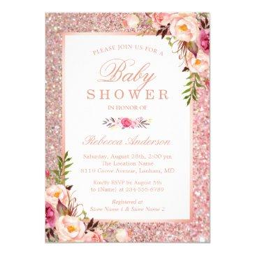 rose gold glitter pink floral girl baby shower invitations