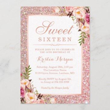 rose gold glitter pink floral sweet 16 birthday invitation