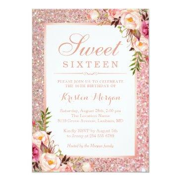 Small Rose Gold Glitter Pink Floral Sweet 16 Birthday Invitation Front View