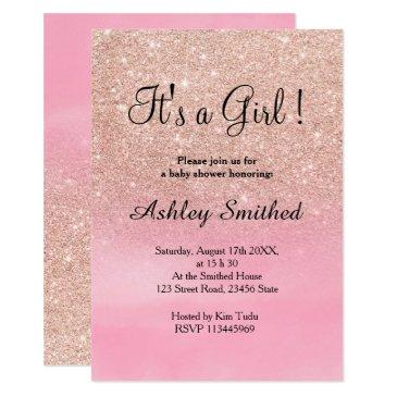 rose gold glitter pink watercolor girl baby shower invitations