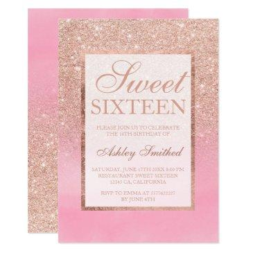 rose gold glitter pink watercolor sweet 16 invitation