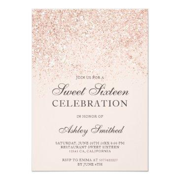 Small Rose Gold Glitter Sparkles Blush Sweet Sixteen Invitation Front View