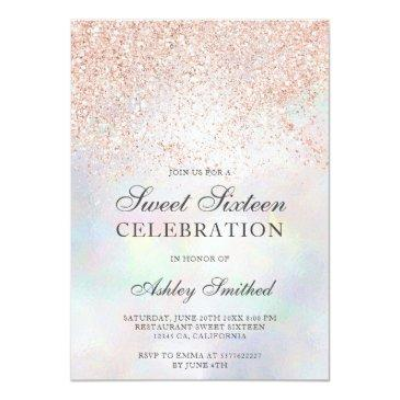 Small Rose Gold Glitter Sparkles Pearl Nacre Sweet 16 Invitation Front View