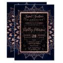 rose gold mandala navy blue watercolor sweet 16 invitation