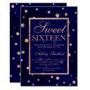 rose gold navy blue polka dots watercolor sweet 16 invitation