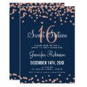 rose gold navy sweet 16 birthday glitter confetti invitation