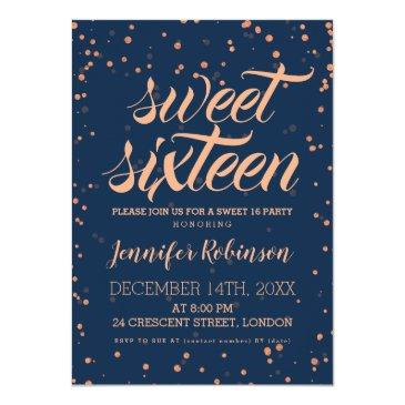 Small Rose Gold Navy Sweet 16 Sparkle Confetti Invitations Front View