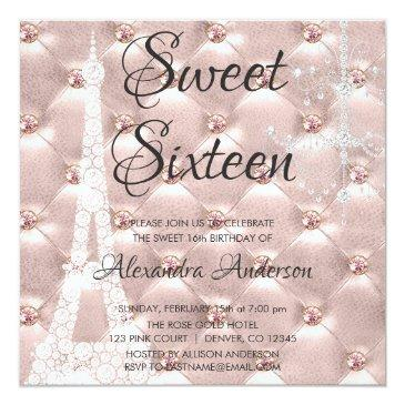 Small Rose Gold Paris Sweet Sixteen Birthday Party Invitations Front View