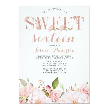 Small Rose Gold Pink Glitter Floral Sweet Sixteen Invitation Front View
