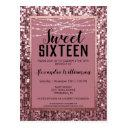 rose gold sequin/glitter sweet 16 birthday party postinvitations