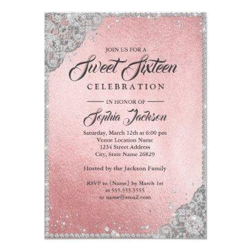 Small Rose Gold Silver Diamond Sparkle Gown Sweet 16 Invitations Back View