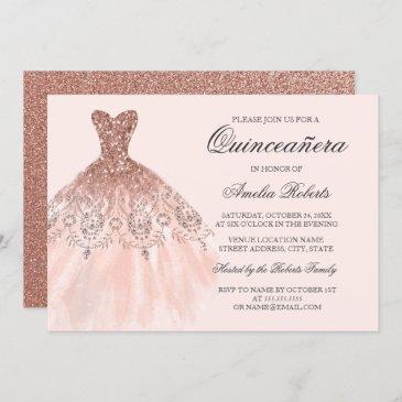 rose gold sparkle dress quinceanera invitation