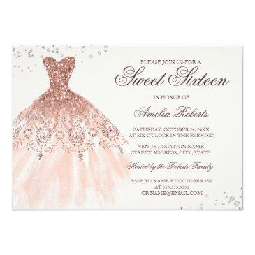 Small Rose Gold Sparkle Dress Sweet Sixteen Invitation Front View