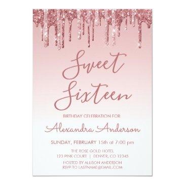 Small Rose Gold Sparkle Glitter Sweet Sixteen Birthday Invitation Front View