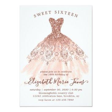 Small Rose Gold Sparkle Pink Dress Sweet 16th Birthday Invitation Front View