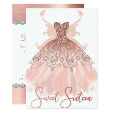 rose gold sweet 16 glitzy sparkle glam gown wings