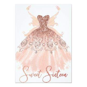 Small Rose Gold Sweet 16 Glitzy Sparkle Glam Gown Wings Invitation Front View
