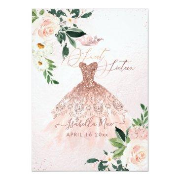 Small Rose Gold Sweet Sixteen Blush Watercolor Flowers Invitation Front View