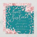 rose gold teal sweet 16 glitter confetti floral invitation
